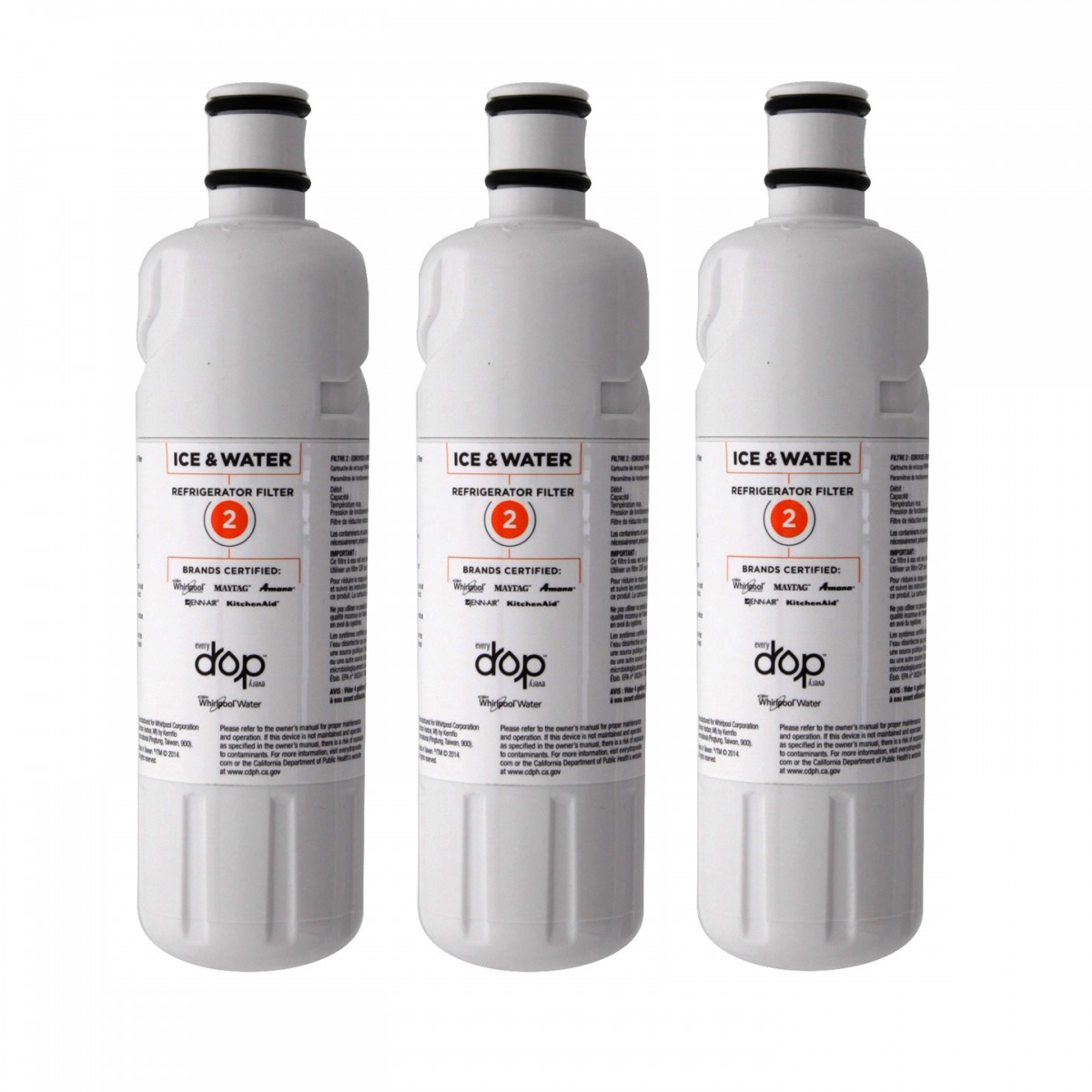 Details about EveryDrop Whirlpool W10413645A EDR2RXD1 FILTER2 Refrigerator  Water Filter 3 Pac