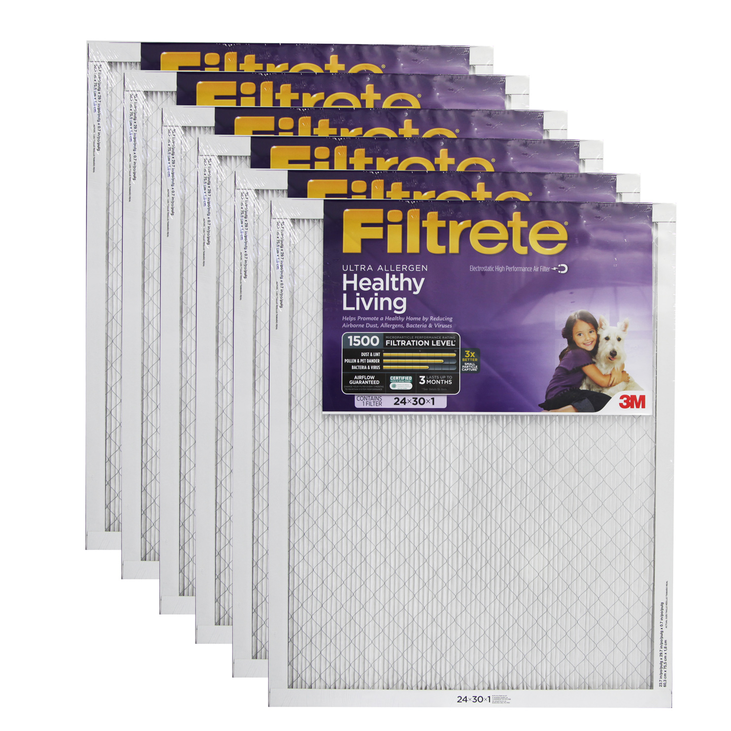 about 3M Filtrete 24x30x1 Ultra Allergen Reduction Air Filter (6 Pack #AD8D1E