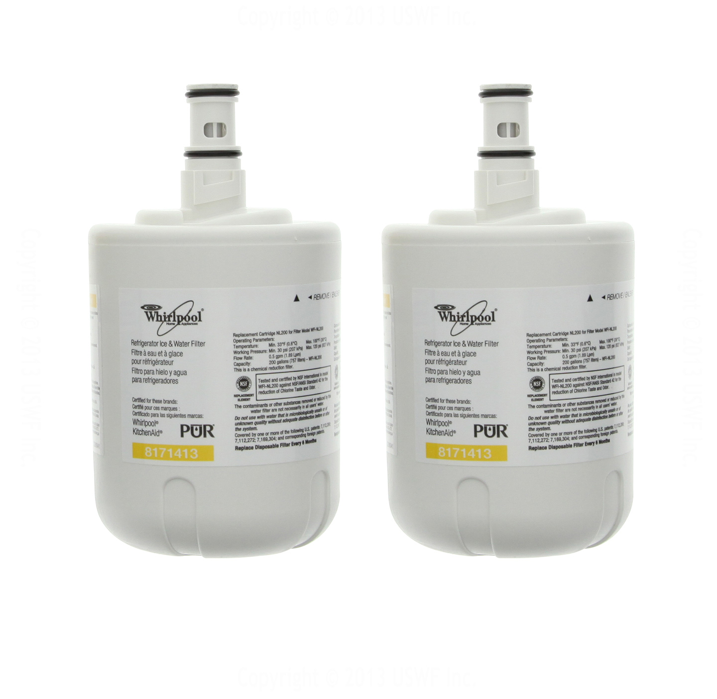 8171413 Whirlpool Refrigerator Water Filter (2-Pack) 8171413_2_PACK