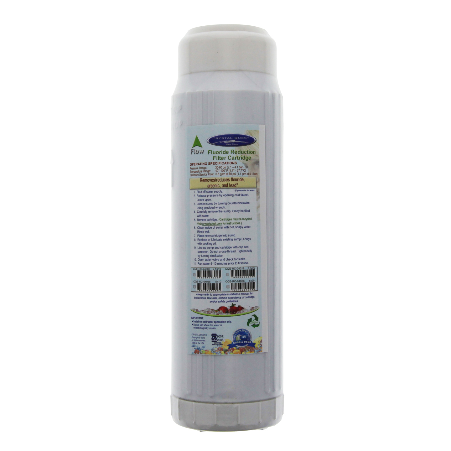 Fluoride Water Filter CRYSTAL-QUEST-CQE-RC-04006
