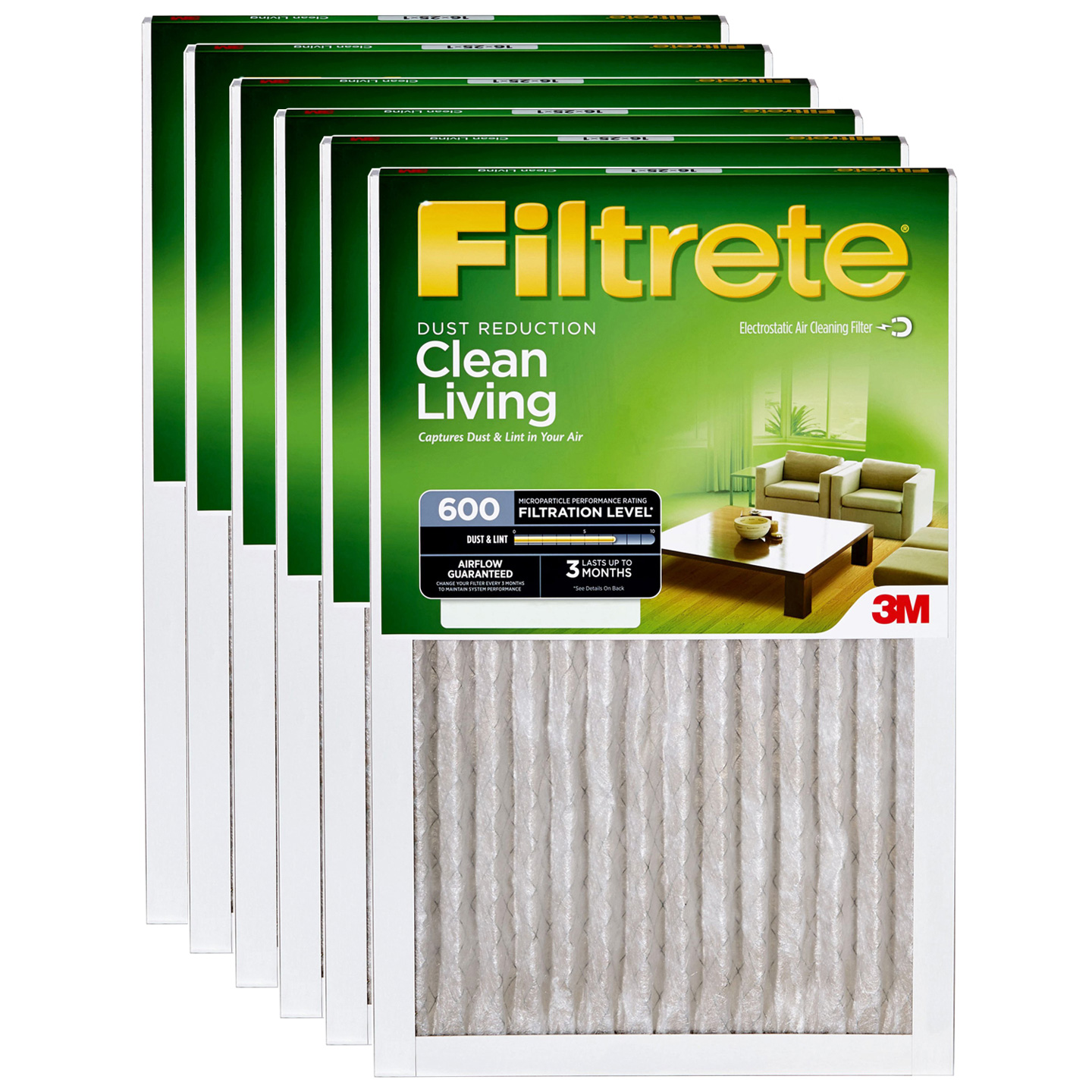 3M Filtrete 9833DC-6 Dust and Pollen Reduction Filters (6 Pack) FILTRETE_DUST_20x25x1_6_PACK