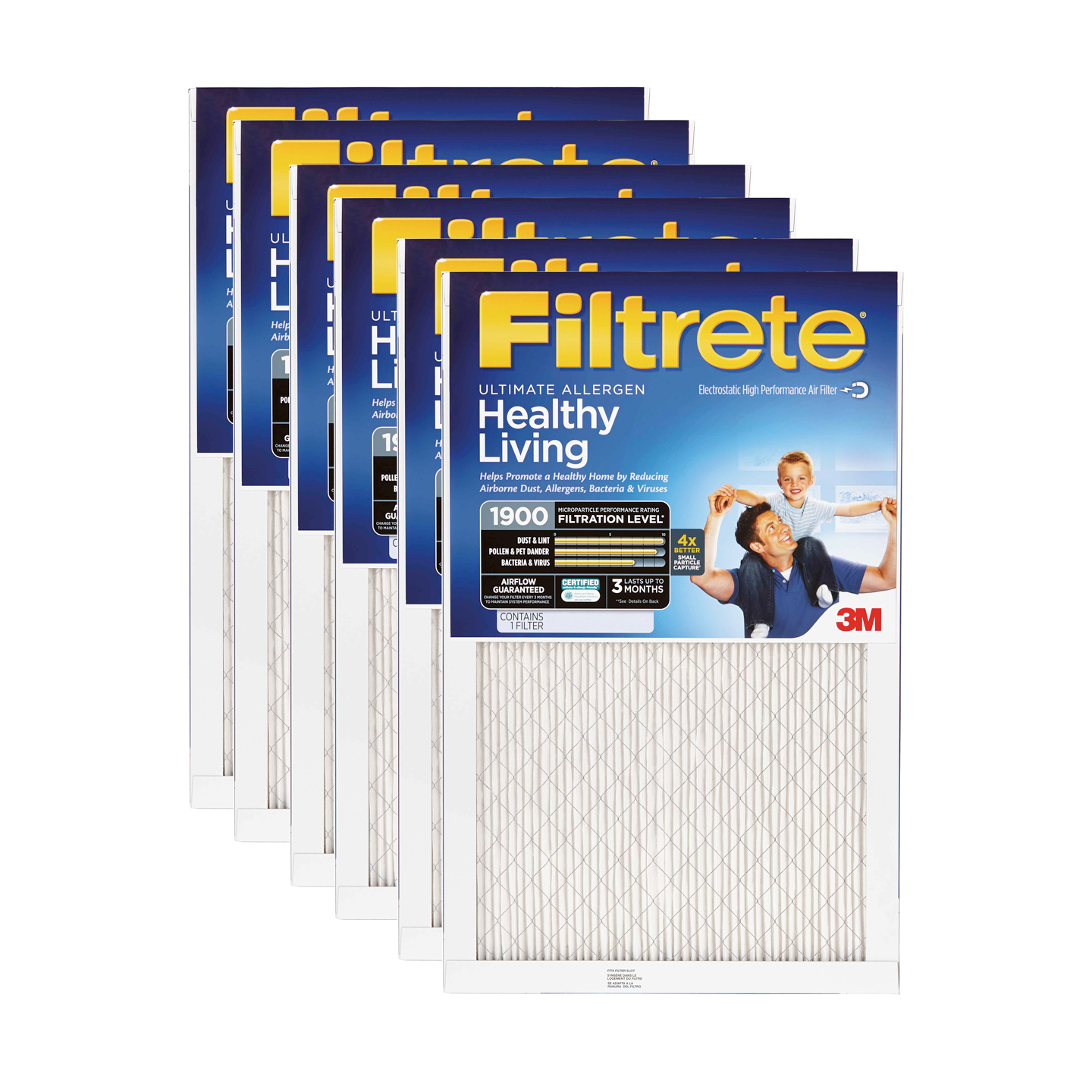 Filtrete 1900 Ultimate Allergen Healthy Living Filter - 12x12x1 (6-Pack) FILTRETE_ULTIMATE_BLUE_12x12x1_6_PACK