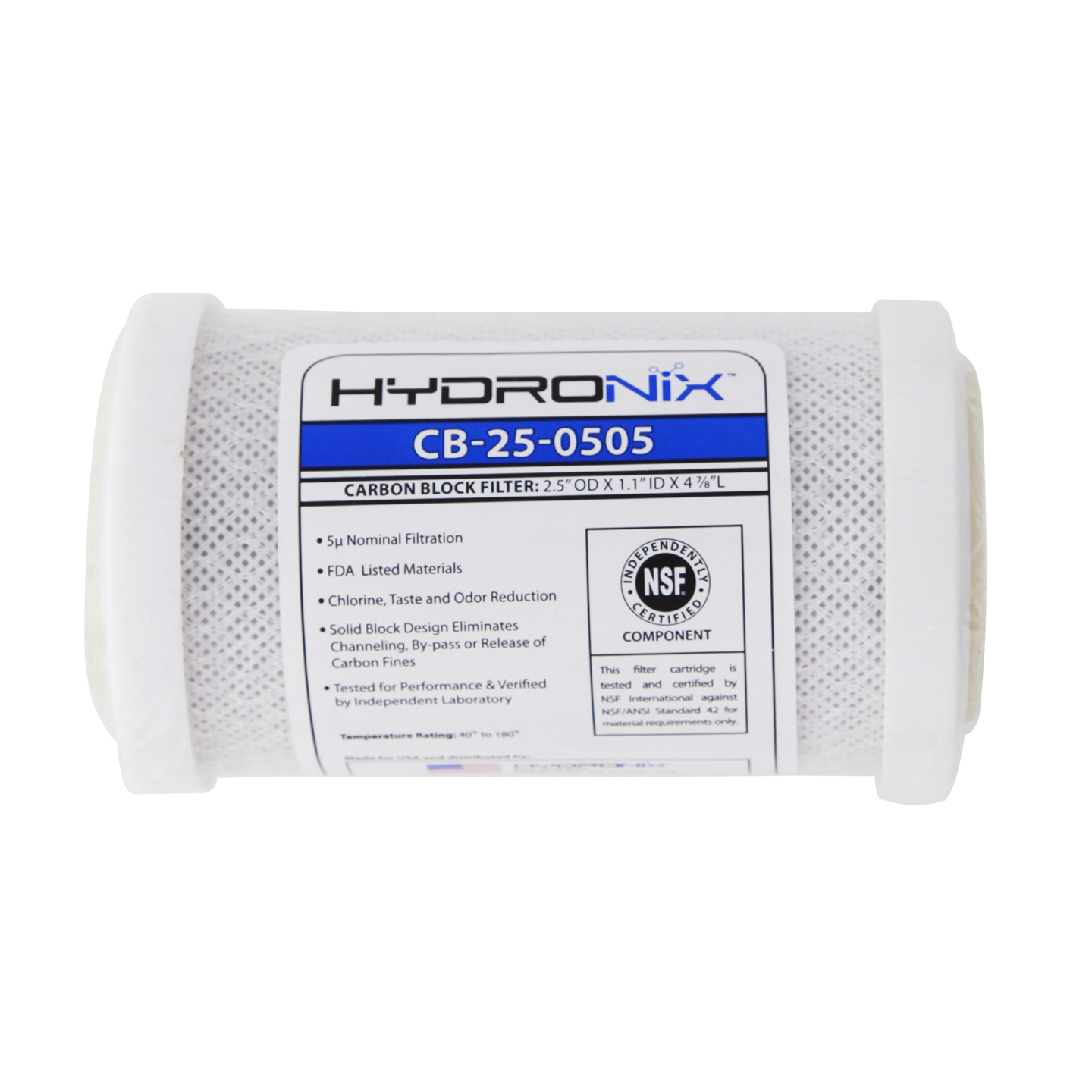 NSF Carbon Under Sink Replacement Filter HYDRONIX-CB-25-0505