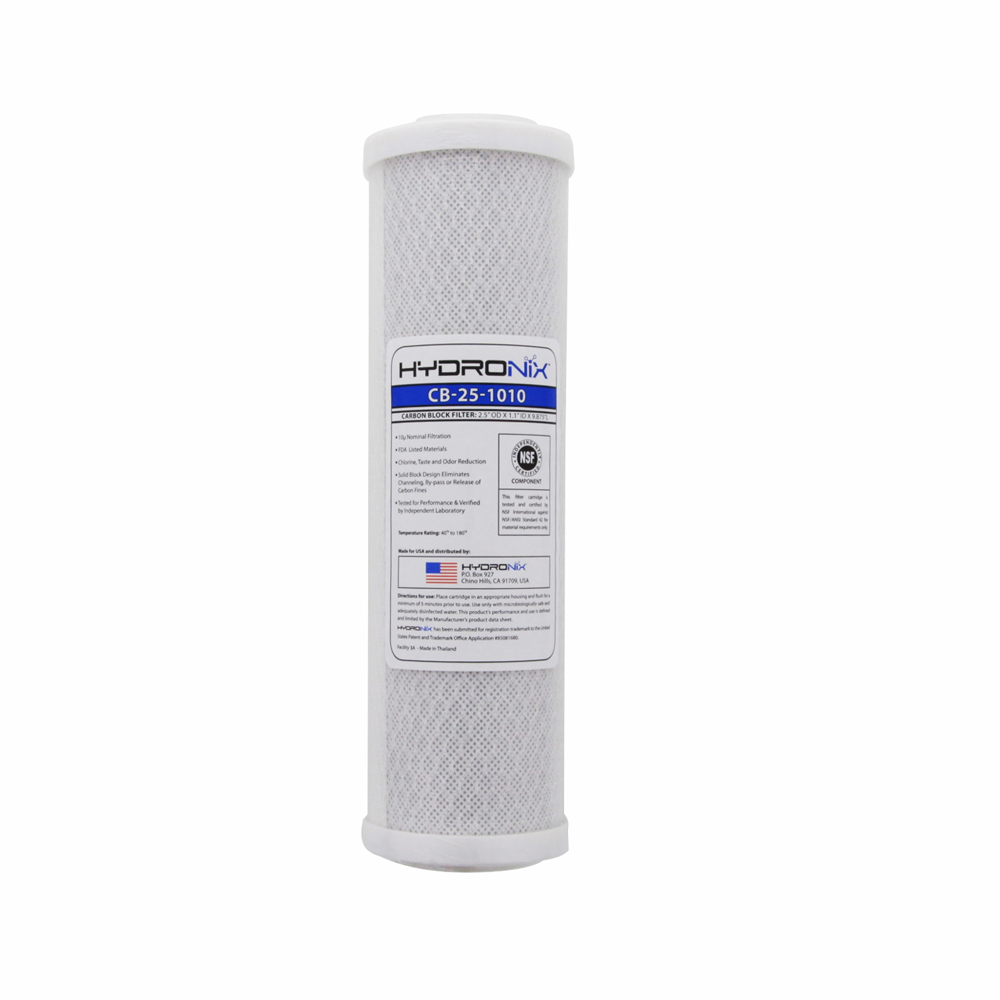 NSF Carbon Under Sink Replacement Filter HYDRONIX-CB-25-1010
