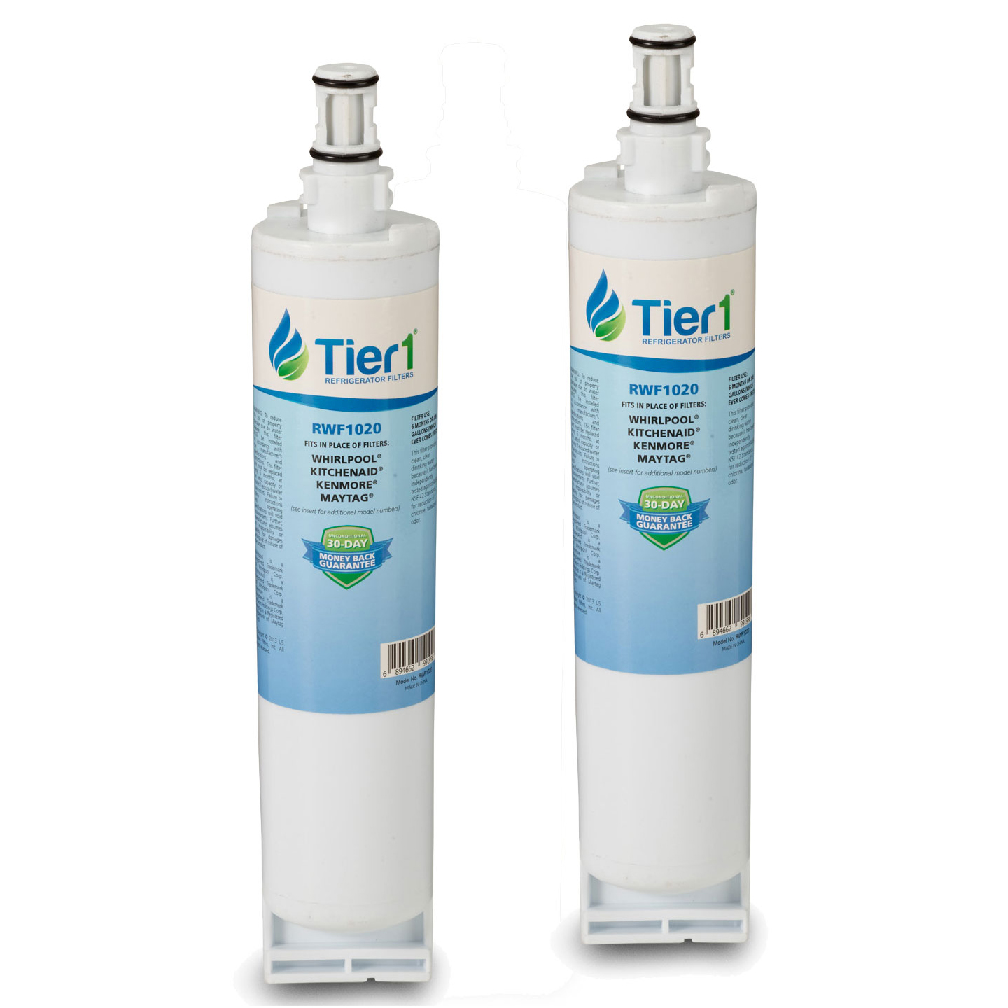 4396508/4396510 Whirlpool Comparable Refrigerator Water Filter Replacement By Tier1 (2 Pack) TIER1_RWF1020_2_PACK