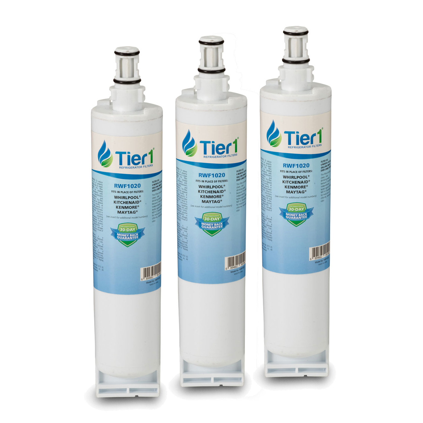 4396508 / 4396510 Whirlpool Comparable Refrigerator Water Filter Replacement By Tier1 (3 Pack) TIER1_RWF1020_3_PACK
