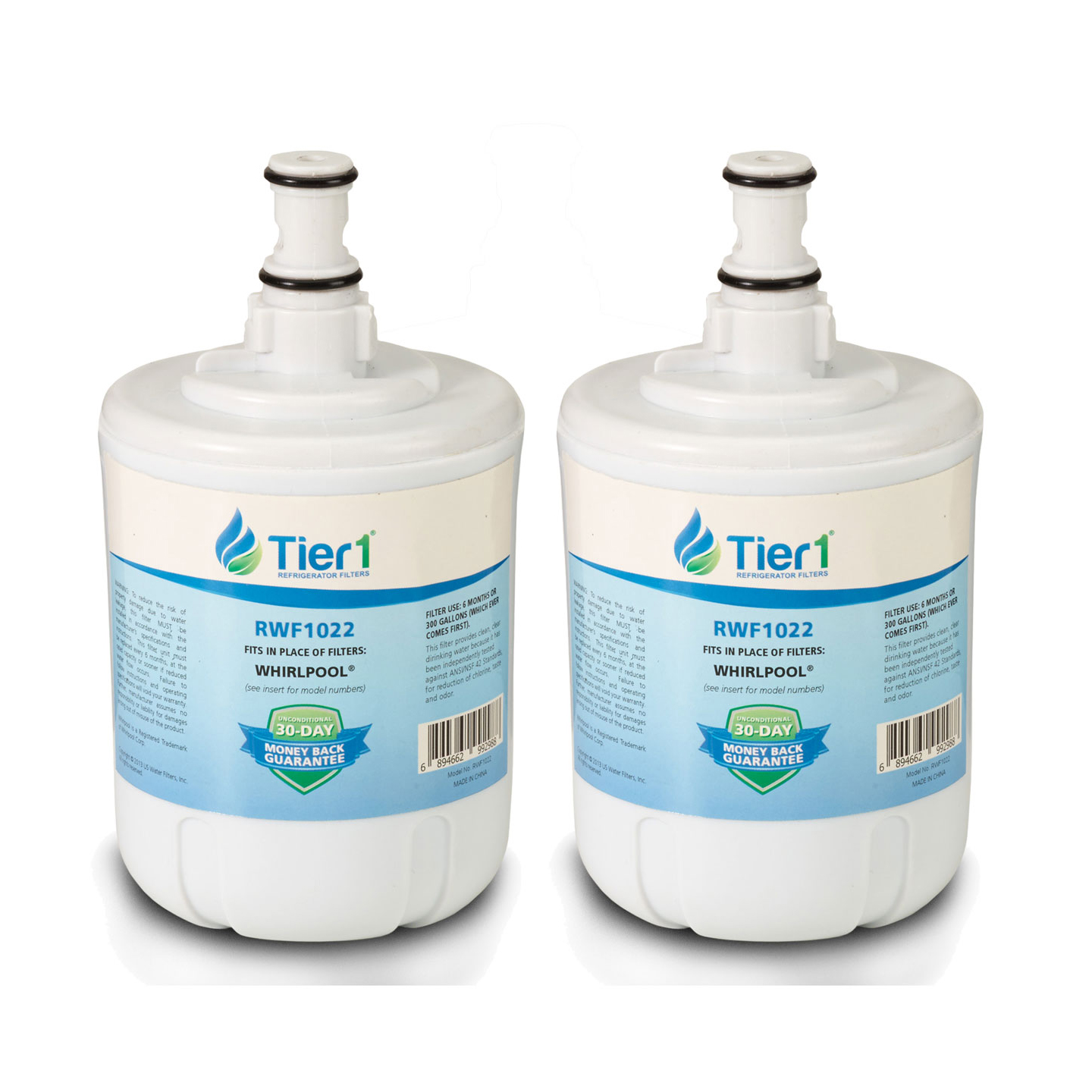 8171413/8171414 Whirlpool Comparable Refrigerator Water Filter Replacement By Tier1 (2 Pack) TIER1_RWF1022_2_PACK