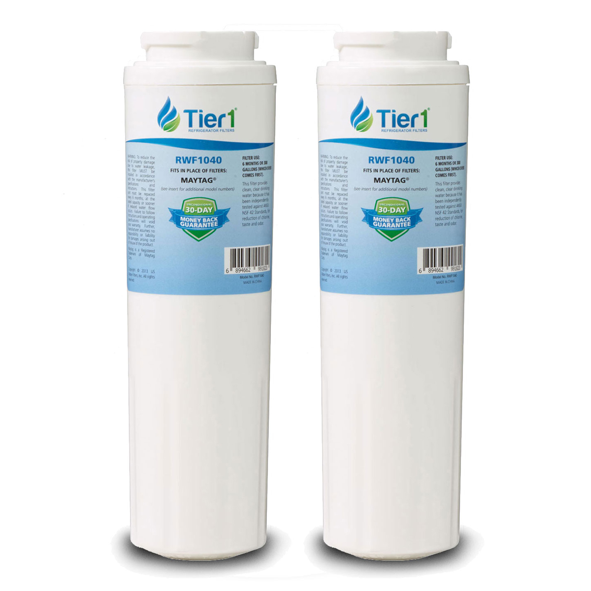 EDR4RXD1 EveryDrop UKF8001 Maytag Comparable Refrigerator Water Filter Replacement By Tier1 (2 Pack) TIER1_RWF1040_2_PACK