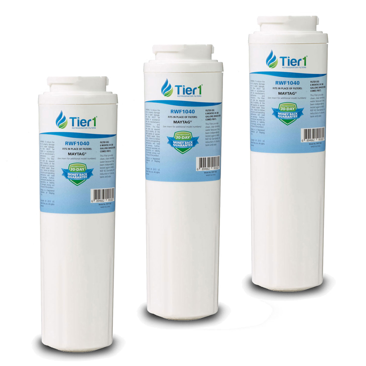 EDR4RXD1 EveryDrop UKF8001 Maytag Comparable Refrigerator Water Filter Replacement By Tier1 (3 Pack) TIER1_RWF1040_3_PACK