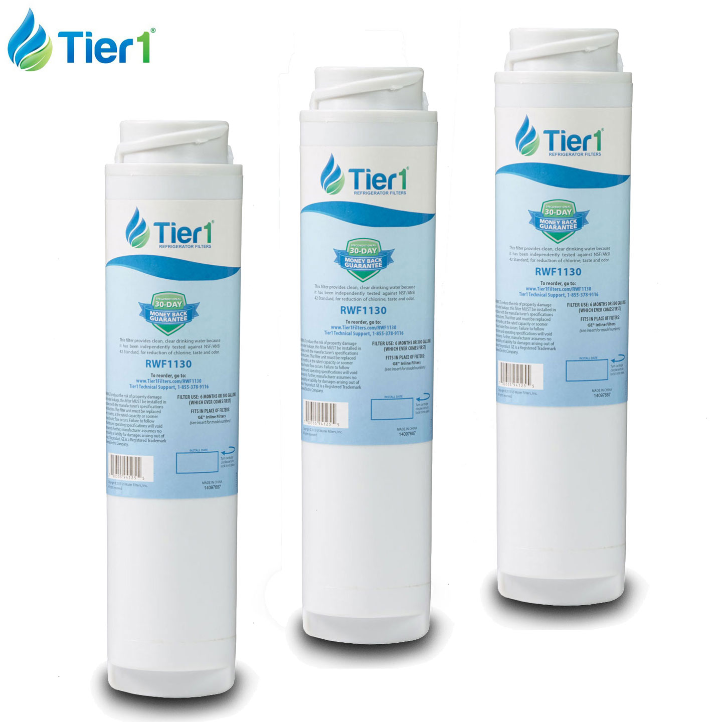 GXRLQR GE Comparable Refrigerator Water Filter Replacement By Tier1 (3-Pack) TIER1_IN_WF0130_3_PACK