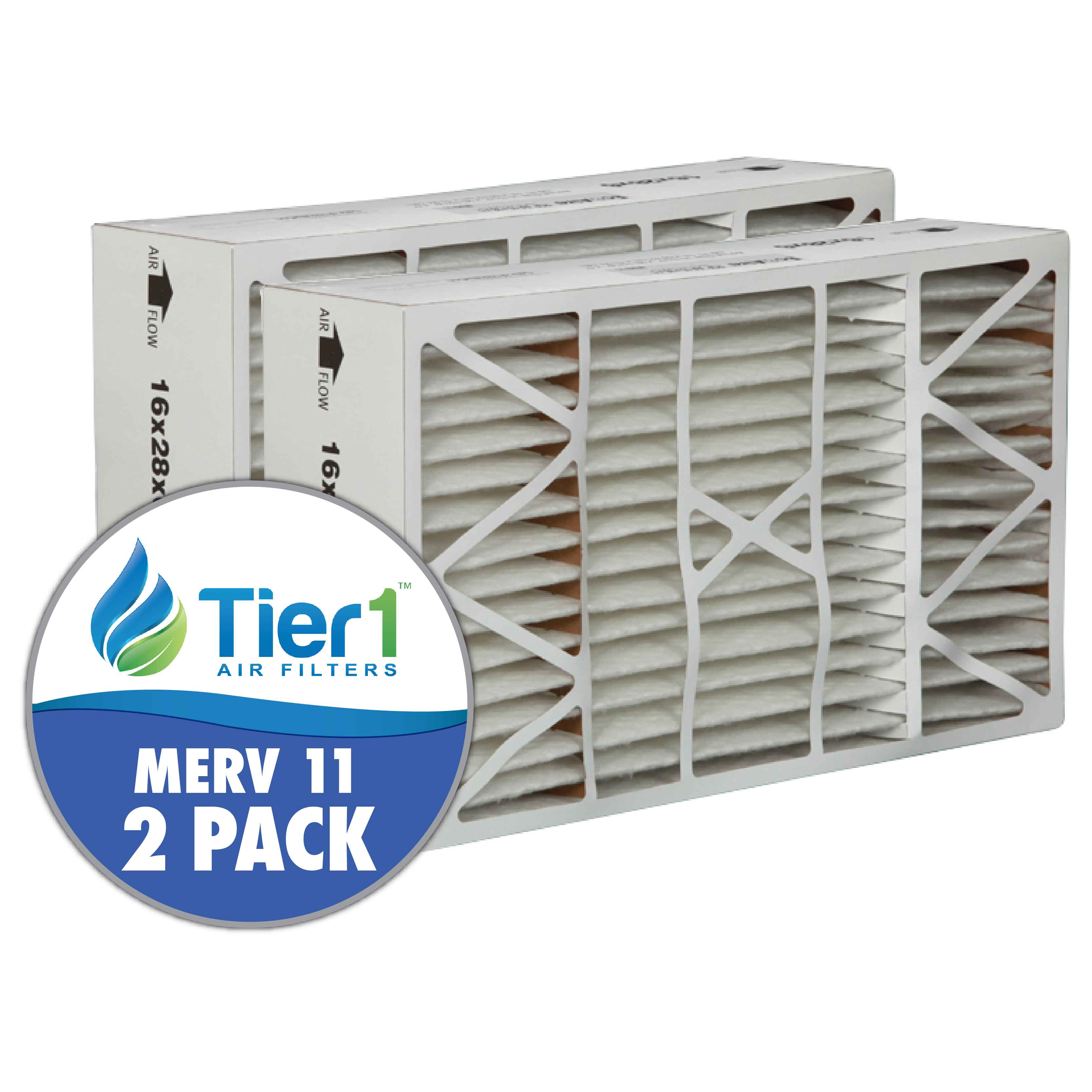 Tier1 brand replacement for Aprilaire #401 - 16 x 28 x 6 - MERV 11 (2-Pack) TIER1-DPFS16X28X6M11